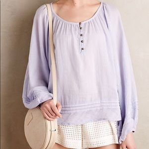 Anthro Vanessa Virginia Lavender Naome Peasant Top